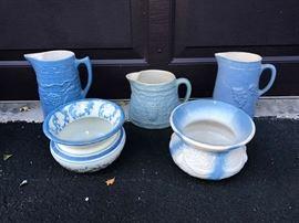 Blue & White Stoneware Pitchers & Spitoons