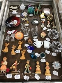 Anri wood carvings, Waterford Crystal, Paperweights, X-mas ornaments