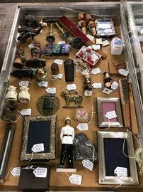 Sterling silver frames, Shawnee pig salt & pepper shakers, Anri & Royal Doulton figurines