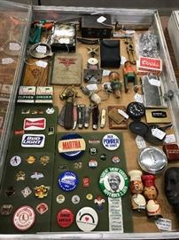 Political & advertising buttons, pocketknives, tins, old toys & misc
