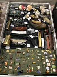 Old military and Olympic pins, knives, flasks, old toys