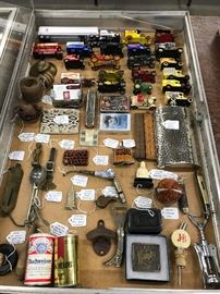 Matchbox and other cars, Anheuser-Busch collectibles, Barwar, flask, folding rulers