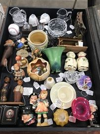 Carnival glass, Roseville & other art pottery, Fenton cranberry glass, Royal Doulton Toby mugs, Anri carvings and Hummel figurines