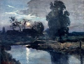 "2021  MATHIAS JOSEPH ALTEN (AMERICAN, 1871-1938), WATERCOLOR, 1907, H 13"", L 17"", MOONLIT RIVER LANDSCAPE"