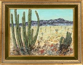 "336  V. LINDELL (AMER. EARLY 20TH C), OIL ON CANVAS BOARD, H 12"", W 16"", ""A BIT OF ARIZONA"""