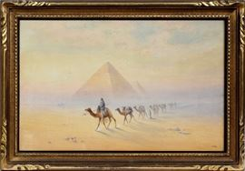 "2059  FRANK CATANO (ITALIAN, 1880-1920), WATERCOLOR & GOUACHE ON PAPER, H 22"", W 34"", THE PYRAMIDS"