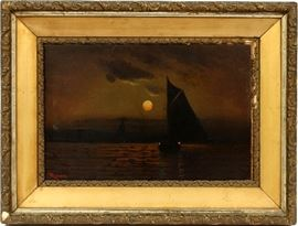 "2111  SIGNED MORAN, OIL ON CANVAS, H 12"", W 18"", MOONLIT HARBOR"