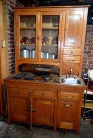 Oak Hoosier style kitchen cupboard