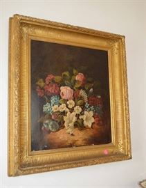 Vintage floral oil painting (some paint loss)