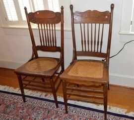 oak pressed back chairs (2)