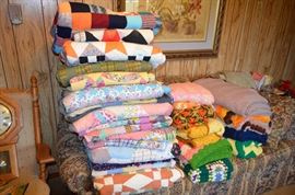 Handmade quilts; afghans