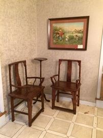 pair of antique Asian chairs    fern stand    and art