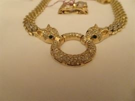 Tiger Necklace - 14K Gold with Diamonds