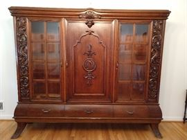 HUGE & HEAVY hand carved Italian China cabinet.