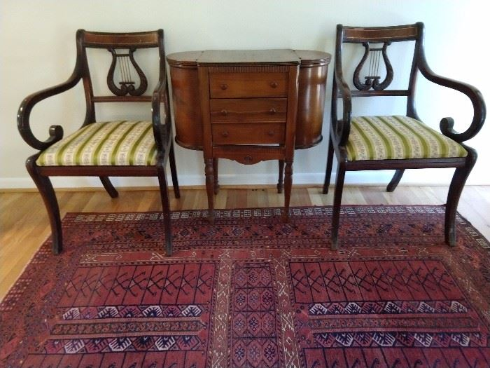 Nice pair of inlaid mahogany, lyre-backed armchairs, with a 3-drawers sewing stand.