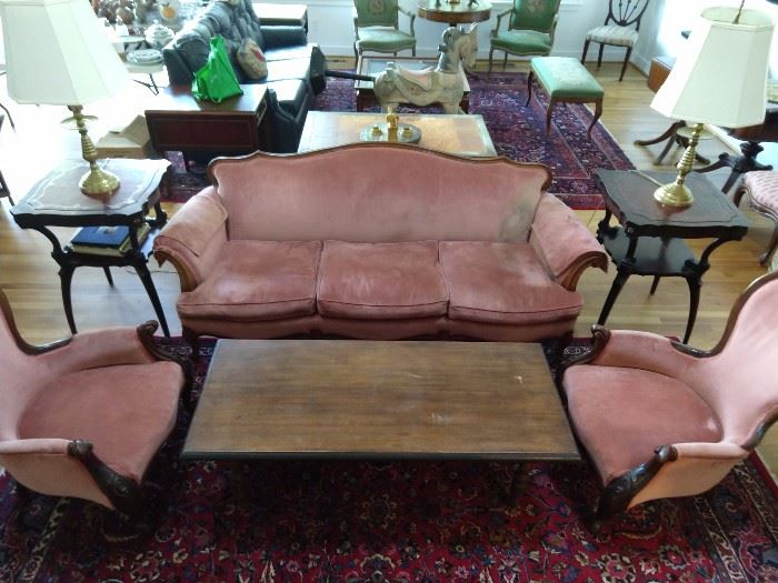 YUCK! I hate Victorian furniture, but here it is - if you want it.                                                                                                           A titty pink trio of sofa and pair of chairs that need to be painted and placed in your little princesses' room.