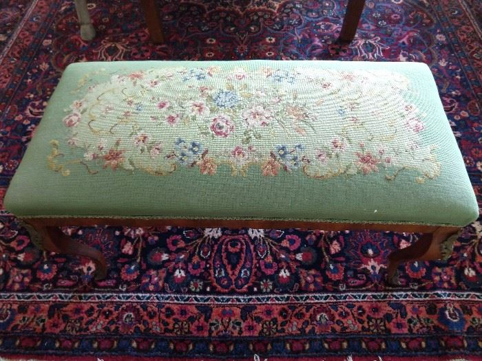 Oops - looks as if this hand embroidered bench is levitating over this Persian rug, but it's not!