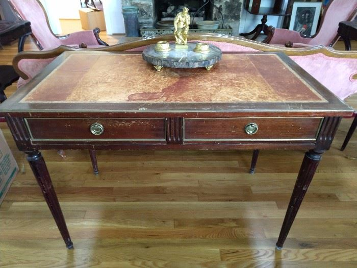 Antique French mahogany 2-drawer writing desk, with tooled leather top.