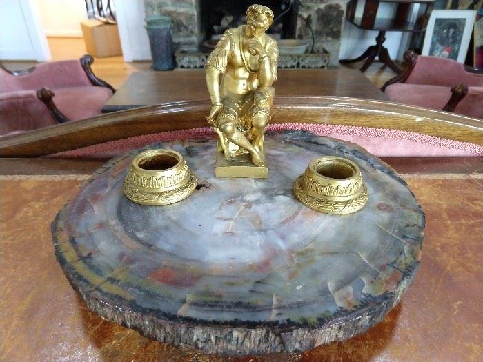 Wonderful bronze dore inkwell, on a polished petrified wood base.
