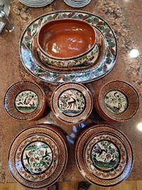 42-piece set hand painted Mexican petatillo pottery, by José Bernabe Campechano Jalisco.