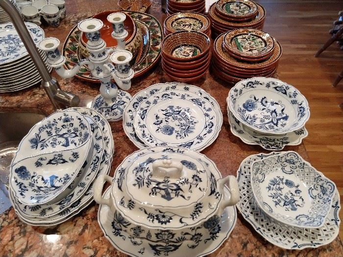 Serving pieces for the 176-piece set of Blue Danube china.