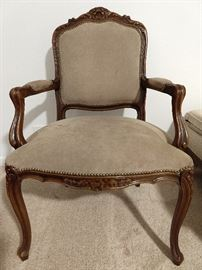 Vintage Italian DAX bergere armchair, with suede upholstery.