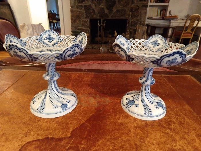 PAIR of Meissen blue & white porcelain compotes.
