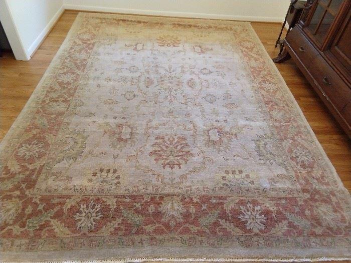 Vintage Turkish design Oushak rug, 100% wool, hand woven, measures 9 x 12.
