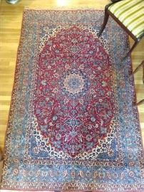 GORGEOUS vintage Persian rug, tiny knots, signed, 100% wool face, hand woven, measures 5' x 7'.