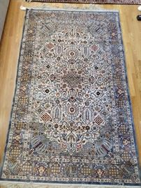 """Another really nice Persian silk rug, hand woven, measures 5' 7"""" x 8' 2""""."""