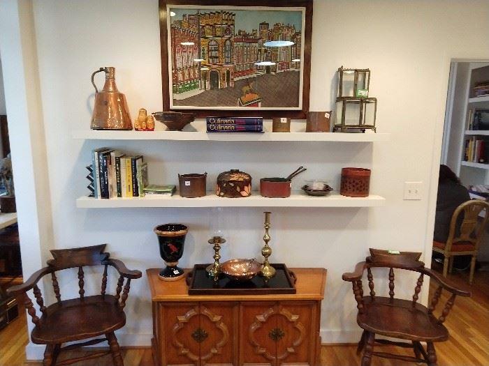 Lovely kitchen vignette - original tempura on paper, by Yugoslavian artist, Century 4-door commode, pair of antique American oak armchairs.
