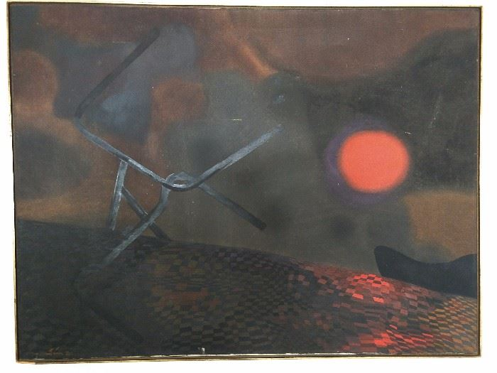 Original oil on canvas, by Nemesio Antunes (Chile) 1918 - 1993.                                                                                               Google the Hell outta this - you'll be pleasantly shocked.  ;-)