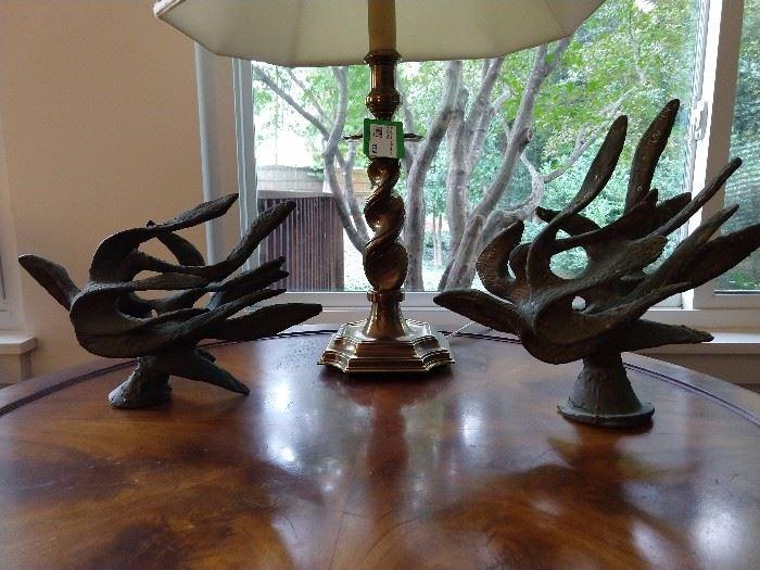 Pair of MCM bronze doves, by Israeli artist.