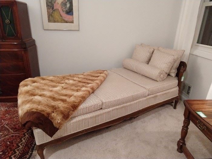 Very nice French recamier, with double cane back and authentic alpaca fur throw.