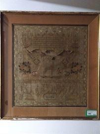 European 1834 sampler, in shadow box frame.