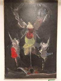 Original oil on canvas, (Three Winged Abstract Figures) by Alfred Aberdam, 1894-1963.