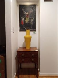 Beautiful Victorian burl wood two drawer chest, yellow porcelain Asian vase, with light blue interior, lorded over by original artwork, from Alfred Aberdam.