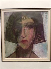 One of a pair of original acrylic on canvas (women's faces), by GA artist Jim McRae.