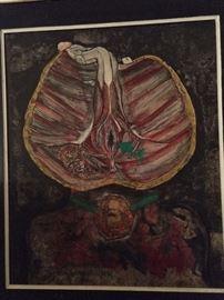Original oil on canvas, by Igael Tumarkin, 1933-.