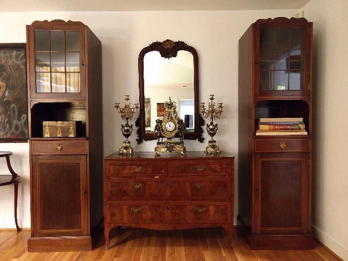 PAIR of Edwardian mahogany library cabinets, 19th century Italian 5-drawer chest, antique mahogany carved mirror and Italian clock set.