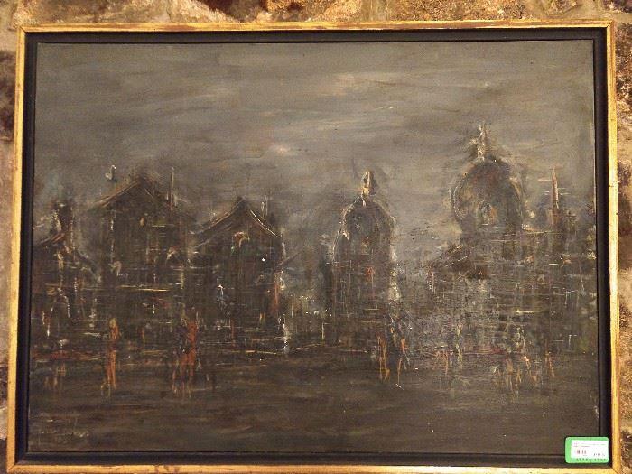 "Original oil on canvas, by Yona Lotan, ""Cityscape"", 1926-1988."