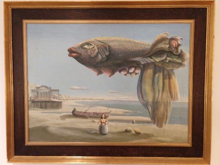 "Original oil on board, ""Le Poisson de Paques, by Noel  Dumolard, 1925-."