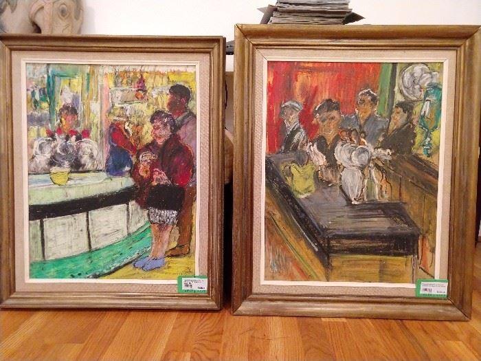 "Original pastel & oil on canvas, ""Barman"" & ""Barwoman"" by David Azuz, (Israel) 1941-."