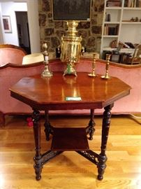 Antique octagonal-topped mahogany table, with lattice stretcher.