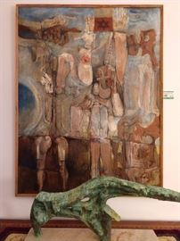 Original oil on canvas, (Israel) by Harold Rubin, 1932-.  MCM 1960's bronze on white marble slab, from Argentina.