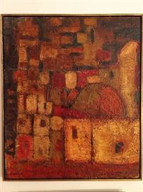 Original abstract oil on canvas, (1970's) by Jose Ortega, 1940-.