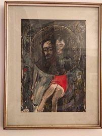 Original mixed media on paper, by Zvi Milshtein, 1934-