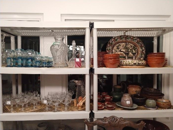 Mexican handblown stemware and pottery, cut crystal stemware.