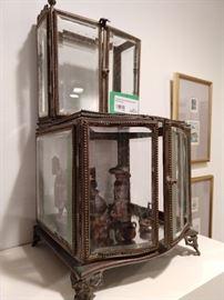 Wonderful miniature French beveled glass vitrine.