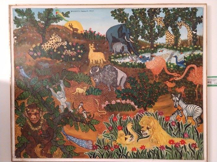 """Original oil on canvas, by Danielle Schiller Karsenty """"Les Lions Amoureux"""", 1975."""